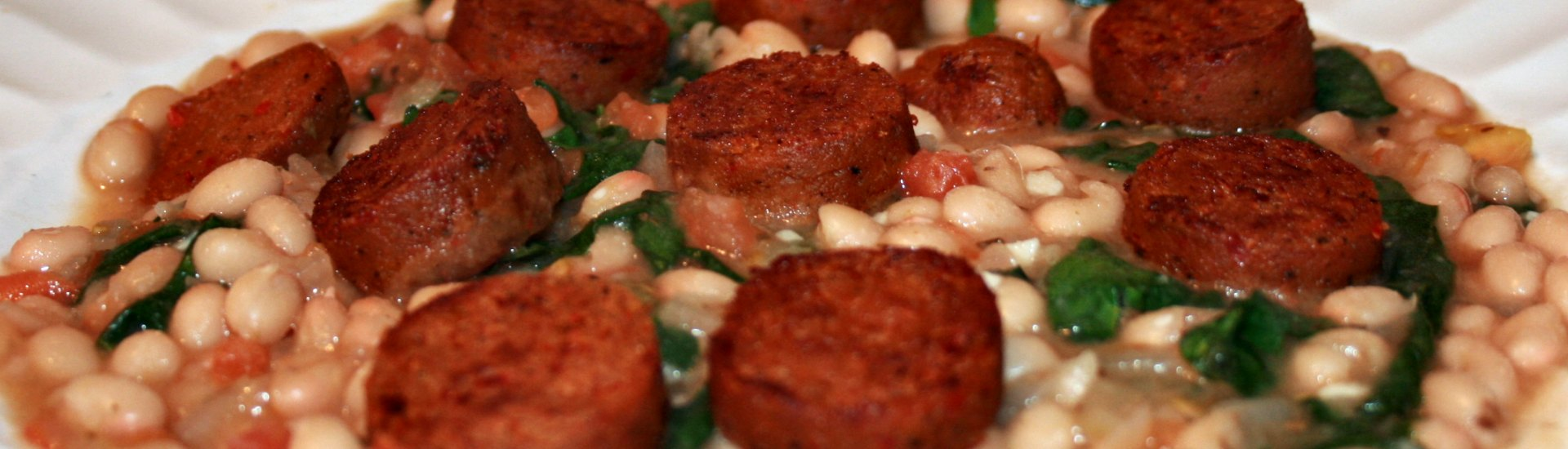 Haricots blancs, épinards et saucisses Gusta