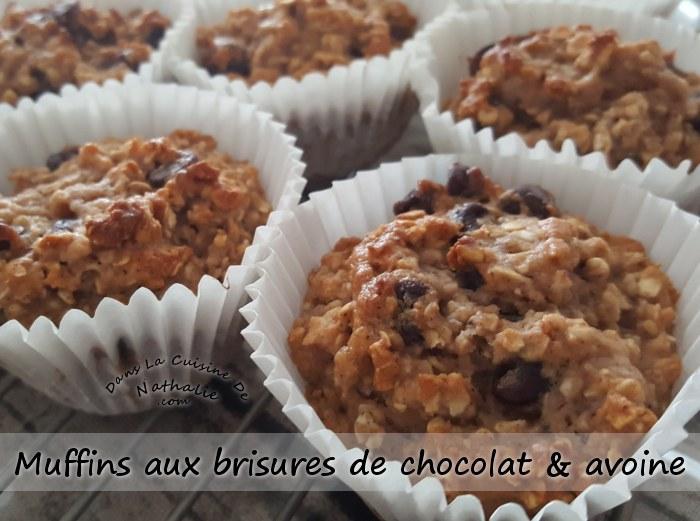 Muffins aux brisures de chocolat et avoine