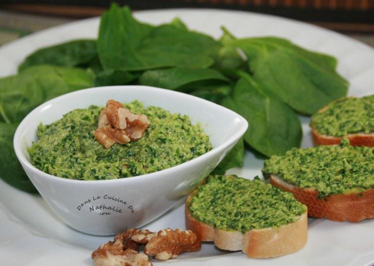 Pesto d'épinards et noix de Grenoble