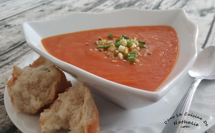Potage aux carottes rôties et aux tomates