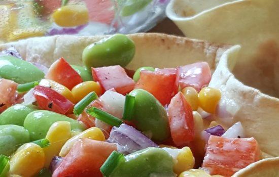 Salade de poivrons, edamames et maïs